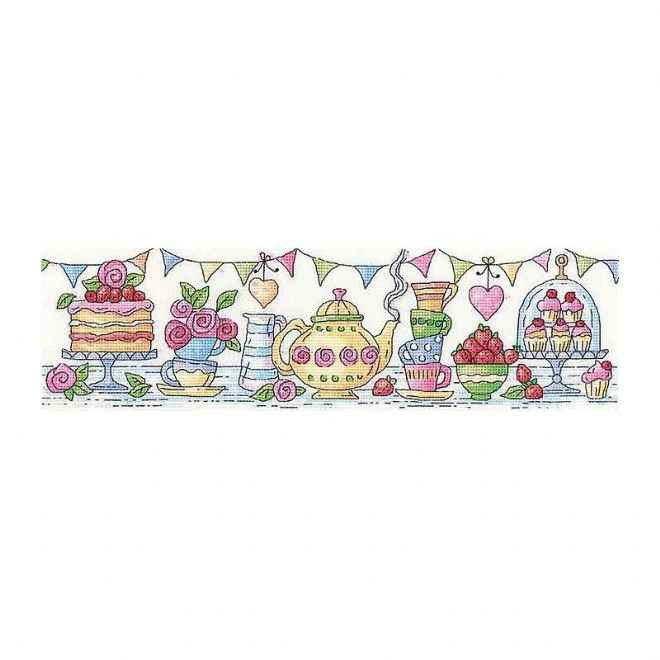 Heritage Crafts Karen Carter Collection Cross Stitch Kit - Afternoon Tea